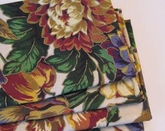 Rustic Floral Napkins set of 4 or 6 Brown Harvest Napkins Purple and Gold Napkins Fall Napkins Brown Table Decor Gold Dinner Napkins