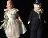 Vintage Bride and Groom Cake Topper or Dollhouse Dolls