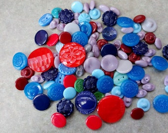 Vintage Czech Glass Buttons- Huge Lot of 100 - Multi Colored Mix- FREE SHIPPING!