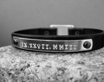 Aluminum and Leather Bracelet with Custom stamped Roman numeral date, Black Leather Bracelet,Wedding,Date,Anniversary, Birthday,personalized