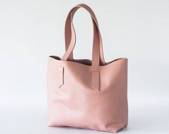 Raw edge dusty pink tote shoulder bag, purse shopper bag shoulder womens large market bag unlined leather tote  - Calisto bag