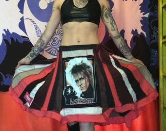 SALE SALE Was 135 now 115 David Bowie Jareth Labyrinth patchwork skirt ooak upcycled cotton