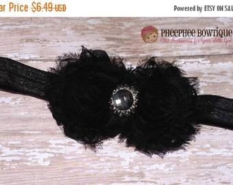 30% OFF SPRING SALE Black Flower Headband, Shabby Flower, Infant Headband, Baby Headband, Hair Bows, Newborn Headband, Baptism, Weddings, Bi