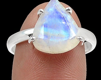 Rainbow Moonstone Blue Fire Gemstone Sterling Faceted Ring Size 8 EE Designs