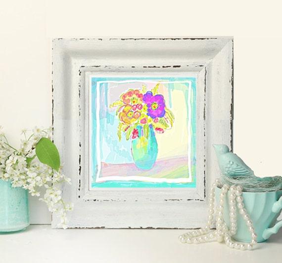 Original Digital Floral Sketch, instant wall art, digital download, floral with aqua vase, living room art, office art, scrap book clipart