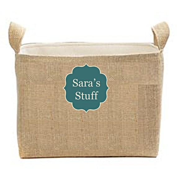 Dorm Storage Bins, Burlap storage baskets, customized burlap baskets, personalized storage bin, bathroom storage, bath decor