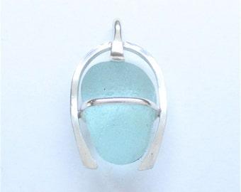 Sea Glass Jewelry - Sterling Caged Aqua Sea Glass Pendant