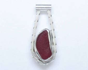 Sea Glass Jewelry - Sterling Extremely Rare Red English Sea Glass