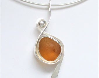 Sea Glass Jewelry - Sterling Extremely Rare Orange Sea  Glass Necklace