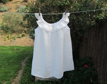 Ready now!  White Organic Linen Camisole One of a Kind