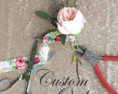 Custom Listing for Juliana - Deposit for Custom Order - Bridal Bouquet, Bridesmaid Bouquets and Boutonnieres Wedding Set
