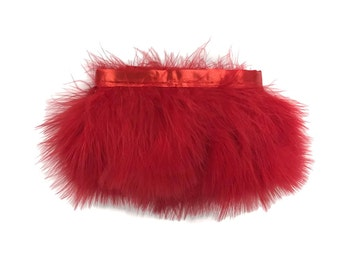 Feather Trim, 1 Yard - Red Marabou Turkey Fluff Feather Fringe Trim : 4193