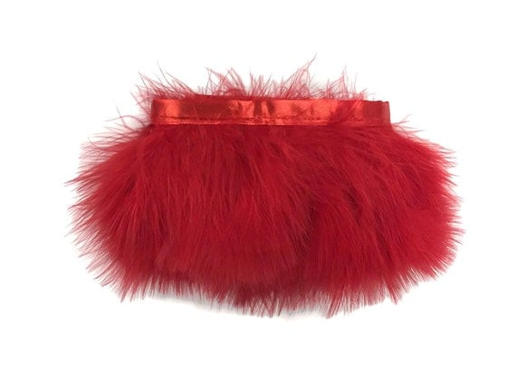 Feather Trim, 1 Yard - Red Marabou Turkey Fluff Feather Fringe Trim : 4193