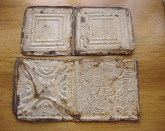 "lot 2 Salvaged Genuine Antique Tin Ceiling Tiles, 6"" x12"" Embossed Pattern. Off-White Lead Paint. CHIPPY, Rusty, as-is."