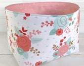 Organizer Storage Bin,Basket,Bin,Nursery Decor,Diaper Storage,Fabric Bin,Fabric Basket,Home Decor,Flowers,Gold,Coral Pink,Blush,Mint Green