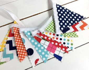 Bunting Banner Mini, Fabric Banner Flags, Baby Nursery Decor - Rainbow, Colorful, Red, Yellow, Navy Blue, Aqua Blue, Chevron, Dots, Gingham