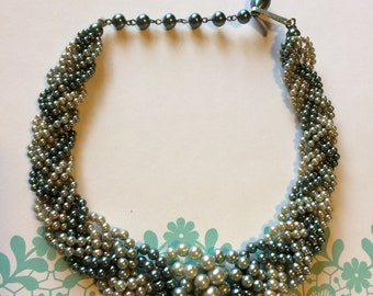 Vintage 50s Timeless Elegant Multi Strand Simulated Pearl Shades of Green Ladies Choker Necklace Japan