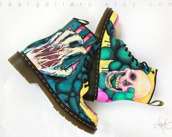 Custom Doc Martens - Hand Painted Monster and Gory Original Artwork Boots