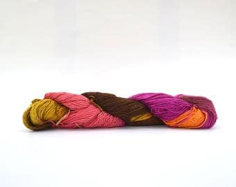 Rainbow Silk Sock Weight Yarn, Recycled Silk Fair Trade Yarn