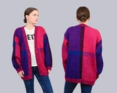 Vintage 80s 90s Color Block Cardigan Oversize Plaid Sweater - Button Down Cardigan 1980s Preppy Sweater - Pink Purple Blue Deadstock S M
