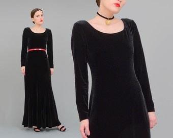 90s Black Velvet Dress, Stretch Velvet Maxi Dress, Witchy Goth Dress, Body Con Dress, Long Sleeve Dress, 90s Long Dress S M