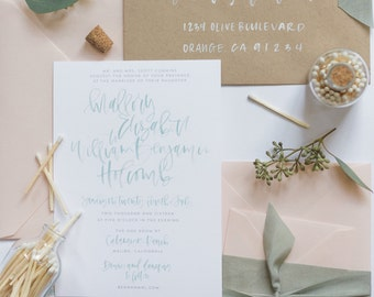 Mint Watercolor Calligraphy Wedding Invitation Suite