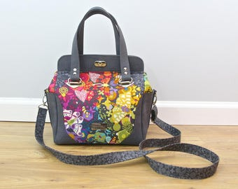 Aster handbag in Alison Glass Art Theory with charcoal cork and optional cross body strap