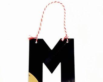 "Vinyl Record Art: Letter ""M"" Ornament"