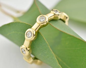 Anniversary Band, 14K Gold Diamond Band, Canadian Diamond Constellation Ring, Wedding Ring or Wedding Band