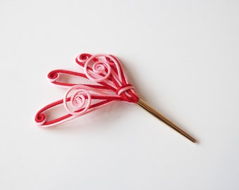 Kanzashi Small Hair Accessory Red Pink Design
