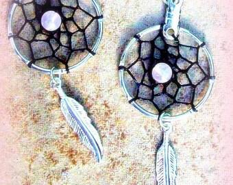 ON SALE LOVE Stone Dream catcher earrings Black and silver with Rose quartz, dreamcatcher, tribal, boho, zen, southwestern, dreamcatcher ear