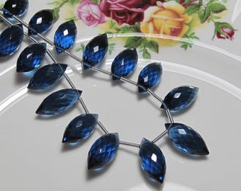 "4"" Strand - AAA Cobalt Blue QUARTZ Puff Marquise Pointer Faceted Teardrop Briolettes"