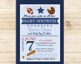 All Stars Sports Co-Ed Baby Shower Invitation | Football and Baseball Fan, Printable File BS-016