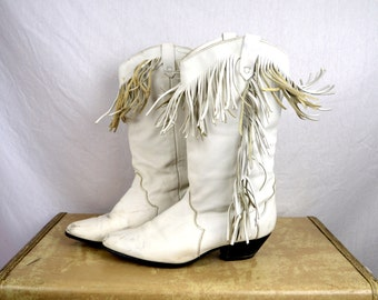 Vintage 80s Dingo Slouch Fringe White Western Women's Boots - Size 8 1/2