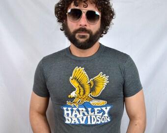 RARE Vintage 80s Paper Thin Harley Davidson Tee Shirt Tshirt