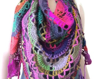 Winter lights Bohemian crochet scarf-Colorful Super lacy Crochet scarf with fringes-Silk and mohair-Handmade