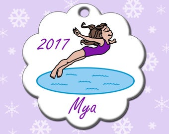 Personalize christmas ornament swimming | Etsy