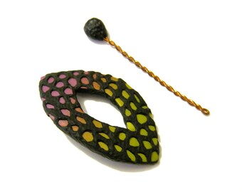 Shawl Pin - Purple Yellow Green Gradient, Edgy Texture Pattern, Pointed Oval, Polymer Clay Pin, Scarf Brooch, Knit or Crochet Accessory