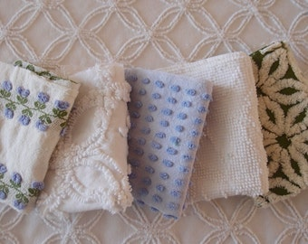 """Vintage Chenille Fabric Mini Sets - Periwinkle, Green & White - Five 12"""" x 18"""" pieces - 100-238"""