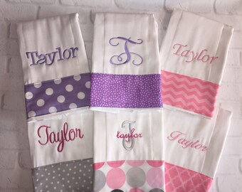 Baby shower gift!  Personalized cloth diaper Monogrammed Baby Burp Cloth Set of 6 Cloths New Mom gift newborn gift set!