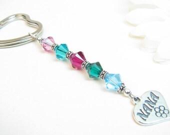 Nana Keychain // Personalized Nana Gift // Gift for Nana // Nana Birthstone Gift // Nana Birthday Gift