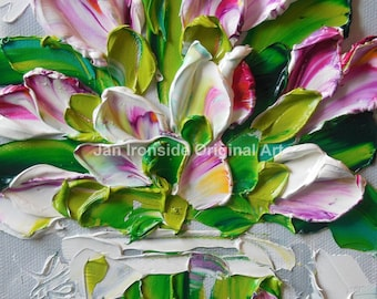 Tulip Painting, oil painting , impressionist, Amber and Pink Tulips