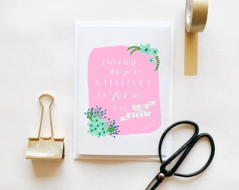 You Are Doing So Well - Greetings Card Blank Pink Floral Self Care Positive Reminder Depression Anxiety