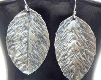 Sterling Silver Distressed Leaf Earrings