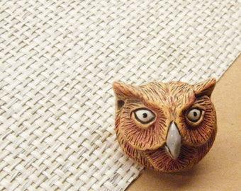 Owl Button, Owl Bead, Animal Button, Bird Button, ANIMAL CHARITY DONATION