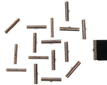 150pcs.  35mm (1 3/8 inch)  Antique Copper Ribbon Clamp End Crimps - Artisan Series