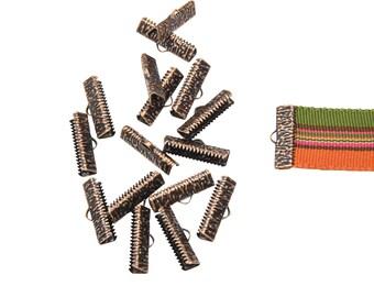 150 pcs.  22mm  (7/8 inch)  Antique Copper Ribbon Clamp End Crimps - Artisan Series