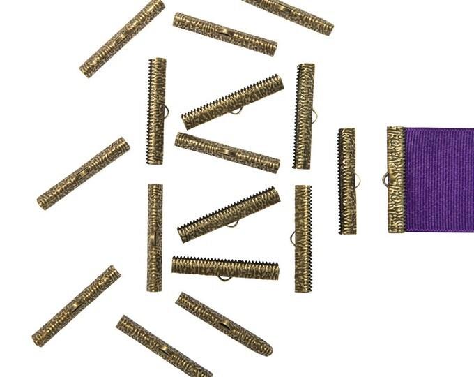 150pcs.  38mm ( 1 1/2 inch ) Antique Bronze Ribbon Clamp End Crimps - Artisan Series