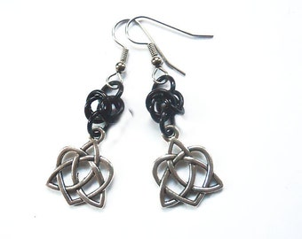 Celtic heart earrings, Celtic knotwork jewelry, Irish earrings, Black and silver Celtic knots, Heart shaped knot