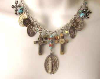 Religious Medals Charm Assemblage Necklace Vintage Medals Crosses Blue stone Beads